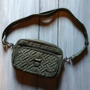 Lug dark green quilted carousel cross body bag